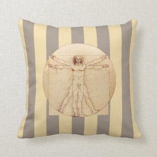 Da Vinci Vitruvian Man Stripes Cushion