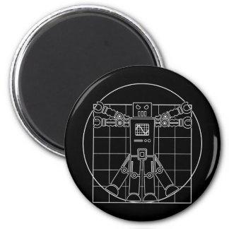 Da Vinci Vitruvian Robot 6 Cm Round Magnet
