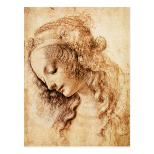 Da Vinci Woman's Head Postcard