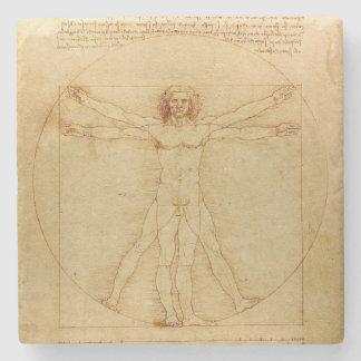 Da Vinci's Vitruvian Man Stone Beverage Coaster