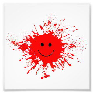 dab-93947 BRIGHT RED HAPPY FACE SPLATTERS dab, PAI Photographic Print