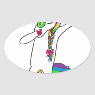 Dab unicorn oval sticker