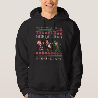 Dabbing All the Way Santa Reindeer Elf Ugly Xmas Hoodie