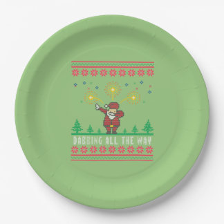 Dabbing All The Way Santa Ugly Christmas Paper Plate