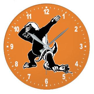Dabbing Honey badger Large Clock