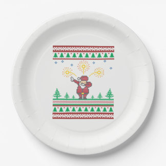 Dabbing Santa Claus Ugly Christmas Sweater Paper Plate