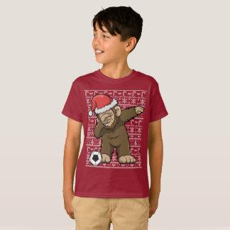 Dabbing Soccer Bigfoot Squatch Christmas T-Shirt