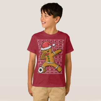 Dabbing Soccer Gingerbread Man Christmas T-Shirt