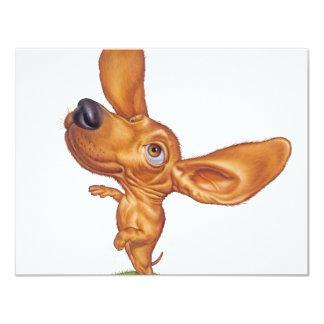 dachshund 11 cm x 14 cm invitation card