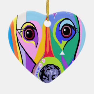 Dachshund 2 ceramic heart decoration