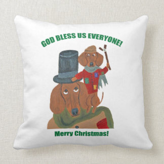 "Dachshund ""A Christmas Carol"" Tiny Tim Cushion"