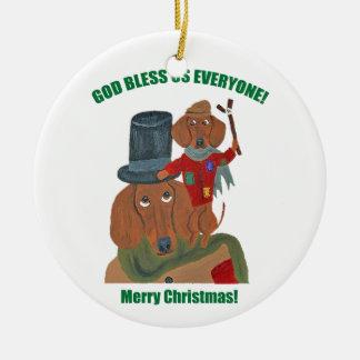 "Dachshund ""A Christmas Carol"" Tiny Tim Round Ceramic Decoration"