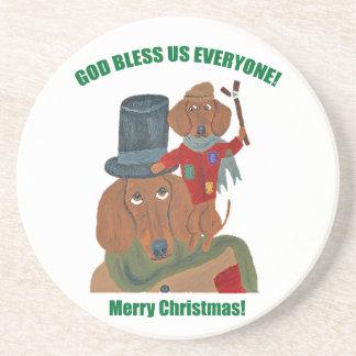 "Dachshund ""A Christmas Carol"" Tiny Tim Sandstone Coaster"