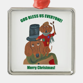 "Dachshund ""A Christmas Carol"" Tiny Tim Silver-Colored Square Decoration"
