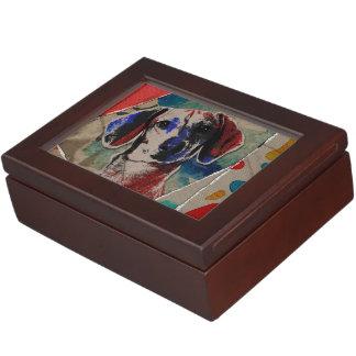 Dachshund Abstract mixed media digital art collage Keepsake Box
