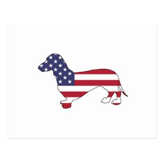 """Dachshund """"American Flag"""" Postcard"""