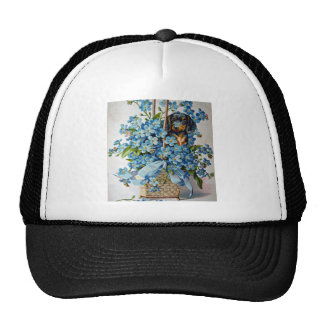 Dachshund and Forget-Me-Nots Cap