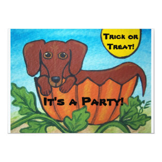 Dachshund and Pumpkin Halloween Party Invitations