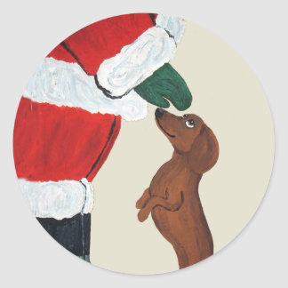 Dachshund And Santa Classic Round Sticker