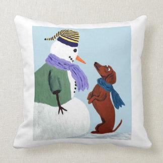 Dachshund And Snow Man Cushion