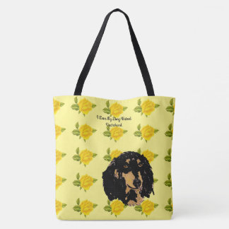 Dachshund and Yellow Roses [Large] Tote Bag