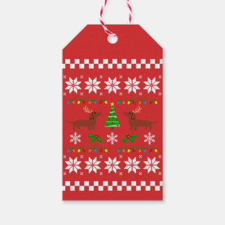 Dachshund Antlers Ugly Christmas Pattern Gift Tags