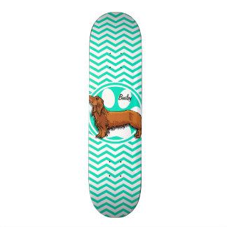 Dachshund Aqua Green Chevron Skate Boards
