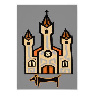 Dachshund At Cathedral 13 Cm X 18 Cm Invitation Card