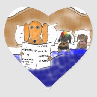 Dachshund Bedtime Story Heart Sticker