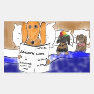Dachshund Bedtime Story Rectangular Sticker