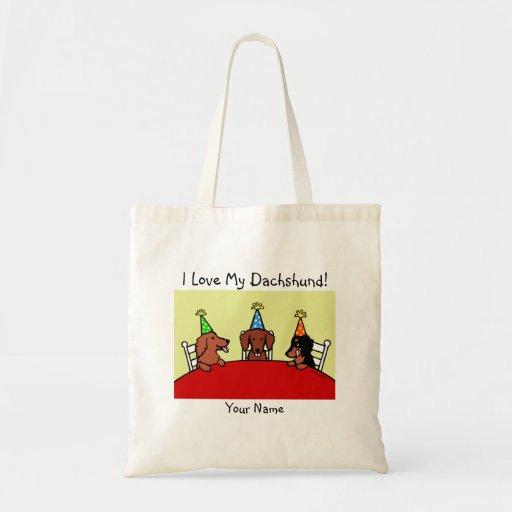 Dachshund Birthday Cartoon Bag