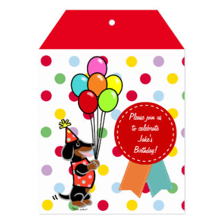 Dachshund Birthday Cartoon Balloons Card