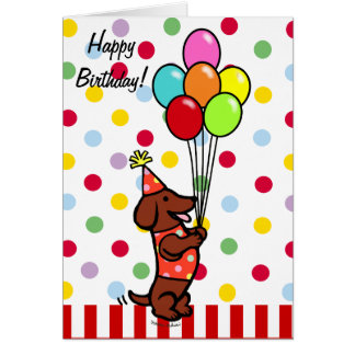 Dachshund Birthday Cartoon Balloons Card