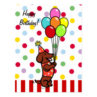 Dachshund Birthday Cartoon Balloons Postcard