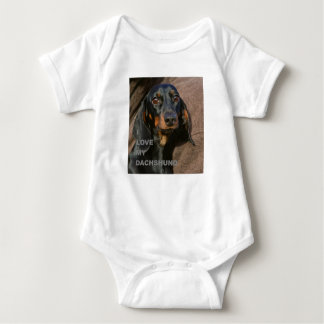 dachshund-black and tan love w pic baby bodysuit