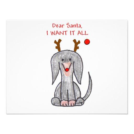 Dachshund Black Dear Santa Invitation