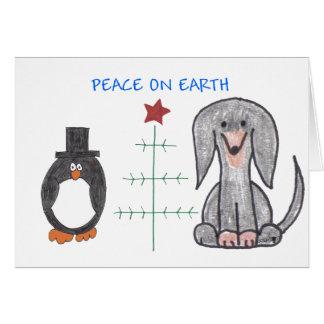 Dachshund Black Peace On Earth Greeting Card