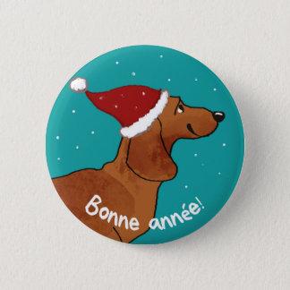 Dachshund Bonne année 6 Cm Round Badge