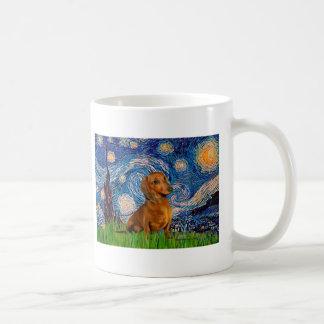 Dachshund (Brown1) - Starry Night Basic White Mug