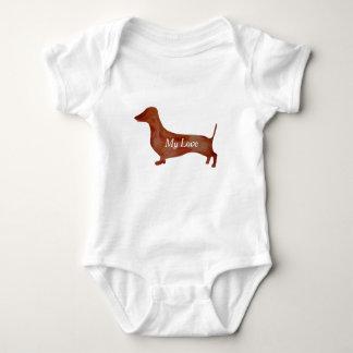 Dachshund Brown Dog Baby Jersey Bodysuit, White Baby Bodysuit