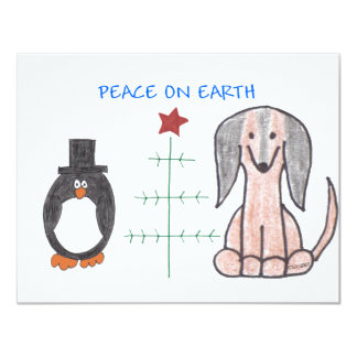 Dachshund Brown Peace On Earth Personalized Invitation