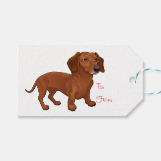Dachshund Brown Puppy Dog Party Wedding Gift Tags