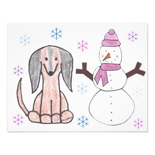 Dachshund Brown & Snowman Announcement