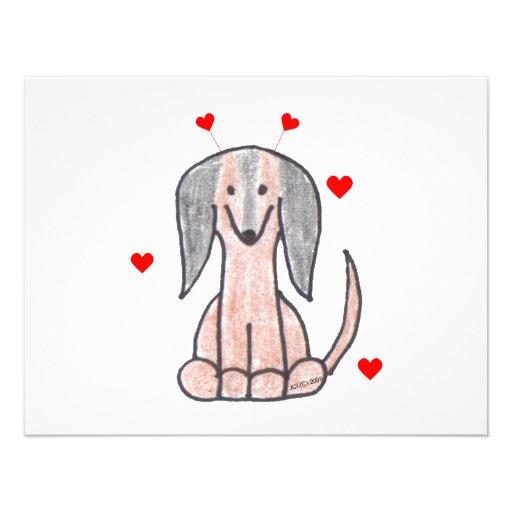 Dachshund Brown Valentine Ears Invitations