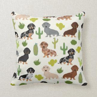 Dachshund cactus throw pillow cute dogs design