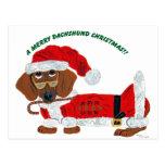 Dachshund Candy Cane Santa Postcard