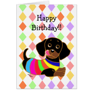 Dachshund Cartoon 2 Birthday Card