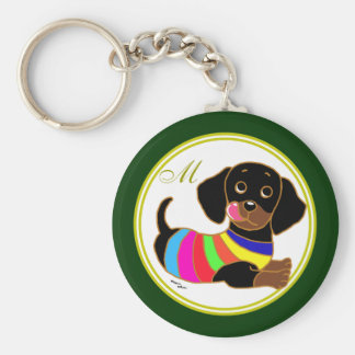 Dachshund Cartoon 2 Monogrammed Basic Round Button Key Ring