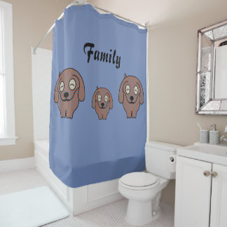 Dachshund checkered dog family shower curtain