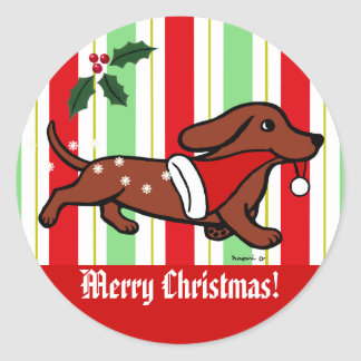 Dachshund Christmas Cartoon Snowflakes Round Sticker